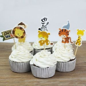 🌸 8 Zoo Animals Cupcake Toppers, Cake Toppers 🌸
